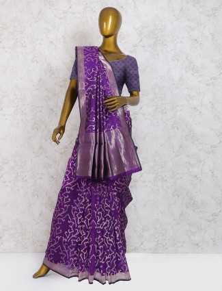 Wedding wear purple saree in pure silk