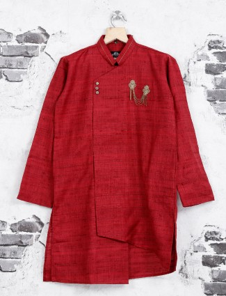 Wedding wear red color kurta suit