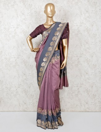 Wedding wear violet classic semi silk saree