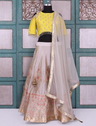 Wedding wear yellow and grey silk lehenga choli