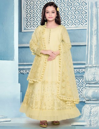 Wedding yellow designer cotton silk anarkali suit