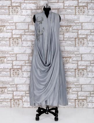 Western look grey color cowl style kurti