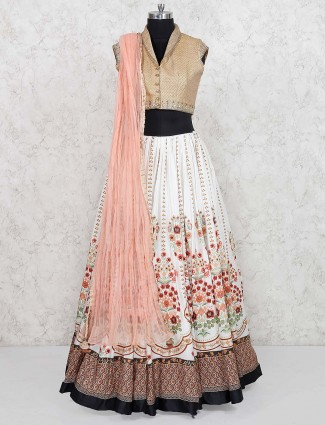 White and beige cotton lehenga choli