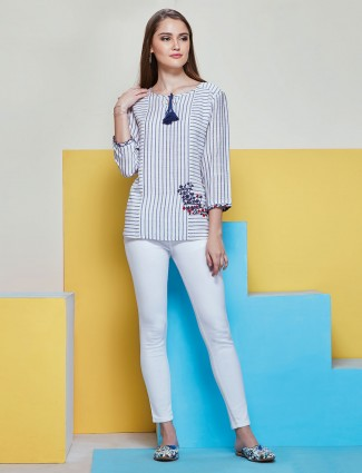 White and Blue striped top in cotton