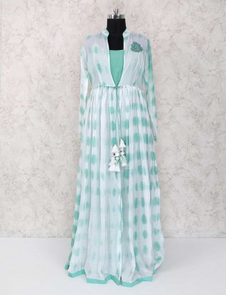 White and light green long kurti