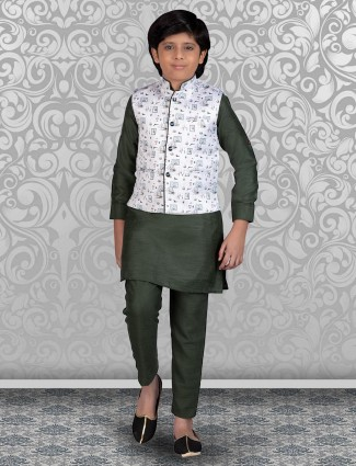 White and olive printed terry rayon waistcoat set