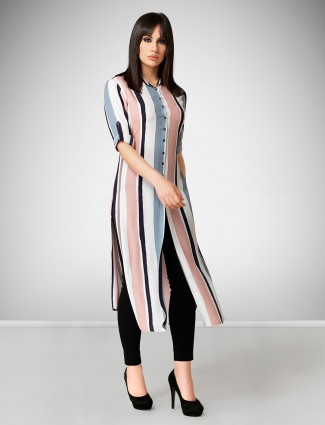White and pink crepe casual wear kurti