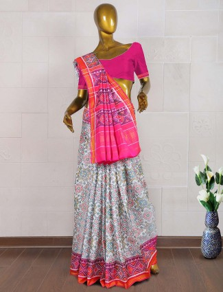 White and pink color wedding wear patola saree
