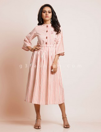 White and pink striped cotton kurti
