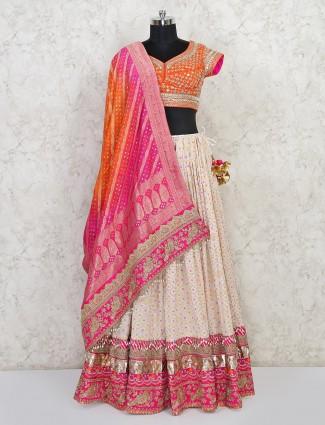 White and pink wedding silk lehenga