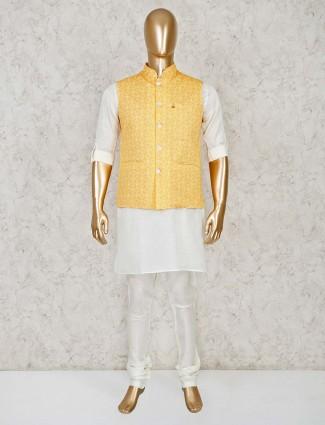 White and yellow cotton silk waistcoat set
