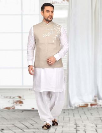 White beige cotton  waistcoat set