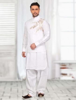 White classy cotton festive wear  waistcoat set
