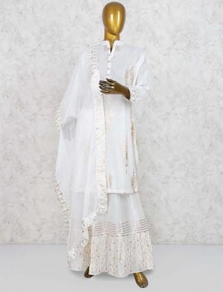 White color lehenga cum salwar suit in cotton fabric