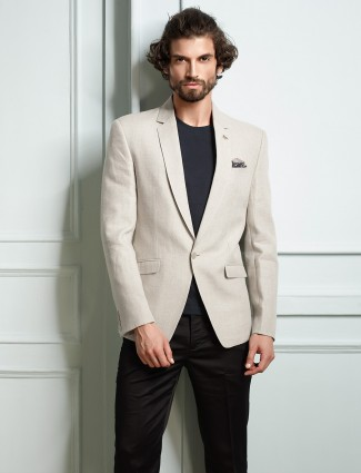 White color solid party wear blazer