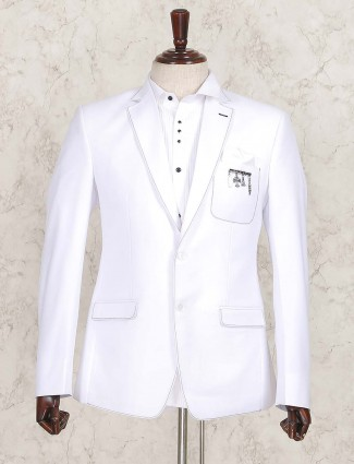 White color solid wedding wear blazer