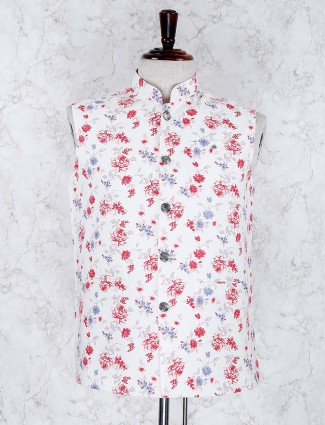 White color terry rayon printed waistcoat