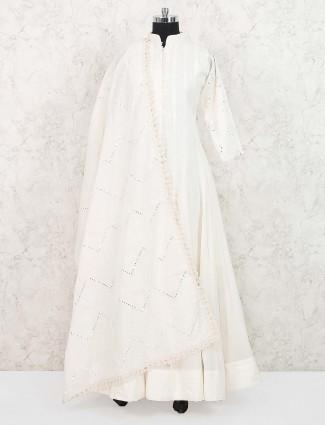 White colored cotton floor length anarkali salwar suit