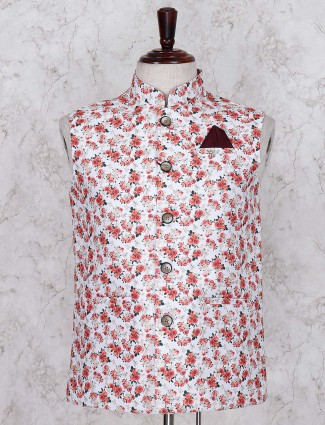 White colored terry rayon waistcoat