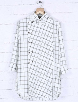 White cotton fabric checked kurta