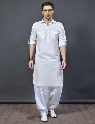 White cotton fabric pathani suit