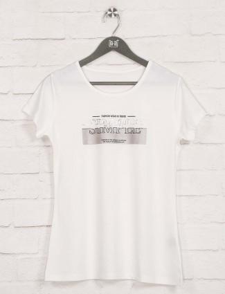 White cotton fancy foil printed top