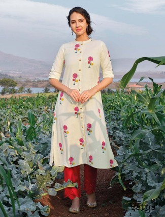 White cotton half sleeves kurti