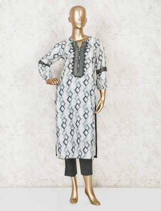 White cotton printed kurti with pant for casual wear