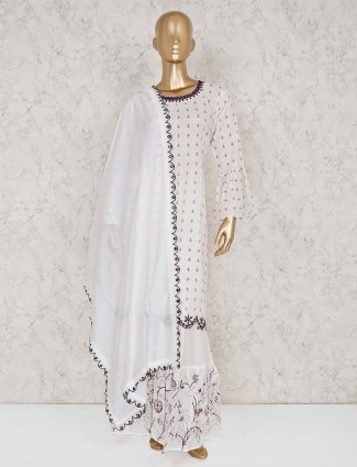 White cotton punjabi sharara suit for party