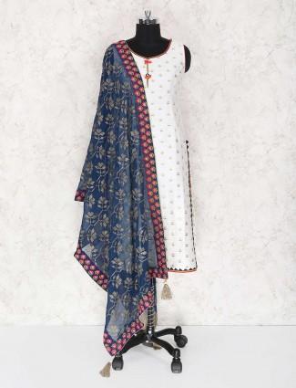 White cotton silk festive wear punjabi suit