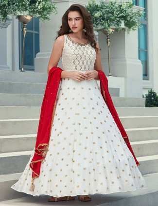 White georgette party wear designer anarkali suit