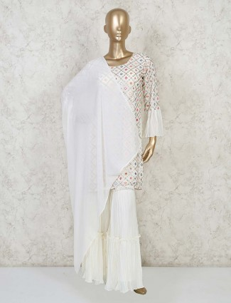 White georgettte kurta suit with sharara for festivals