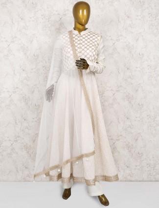 White hue colored cotton silk anarkali suit