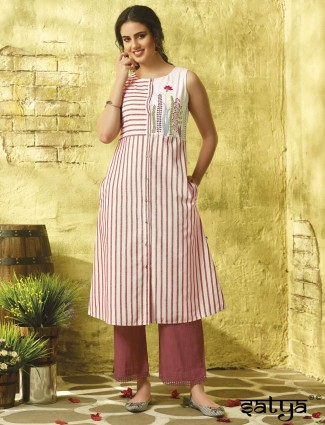White hue cotton casual stripe pattern kurti