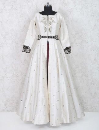 White hue designer raw silk lehenga cum anarkali suit