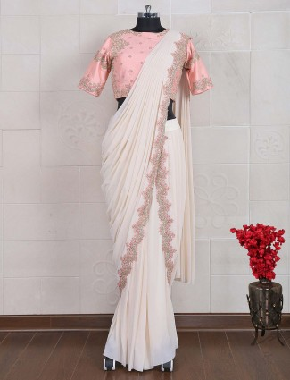 White hue net fabric party saree