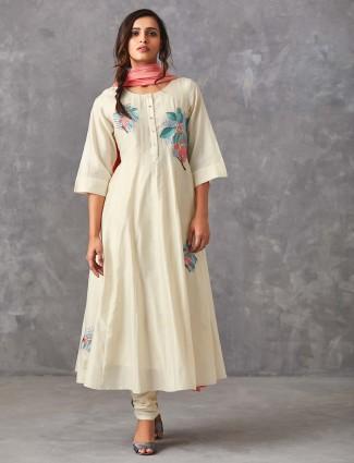 White hue punjabi salwar suit in cotton