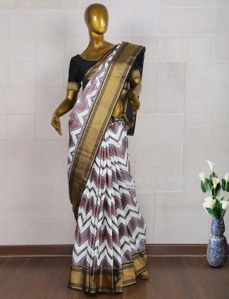 White hue pure south silk saree