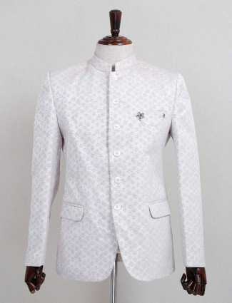 White jodhpuri blazer in terry rayon