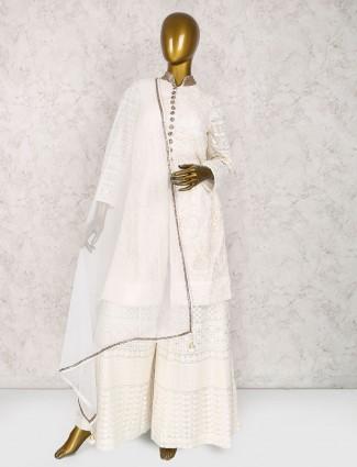 White net fabric palazzo suit