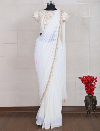 White net fabric saree for party