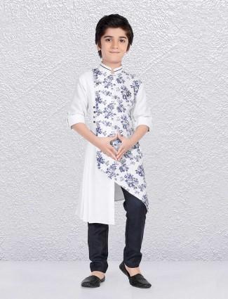 White printed kurta suit in cotton