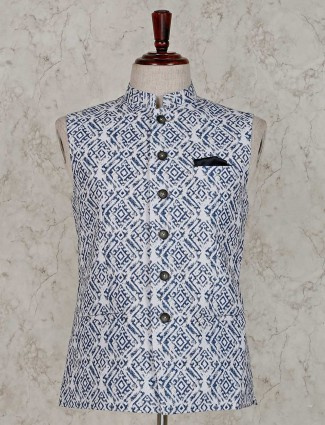 White printed terry rayon stand neck waistcoat