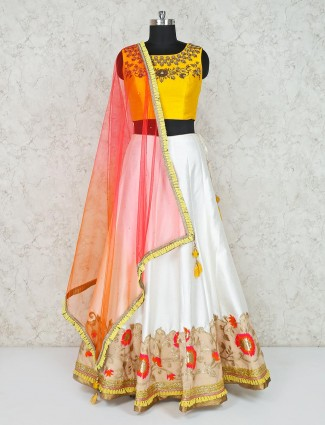 White raw silk wedding wear lehenga choli