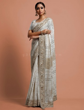 White saree in georgette with lucknowi work