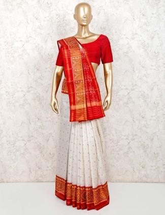 White saree in patola silk with thread,zari weaving