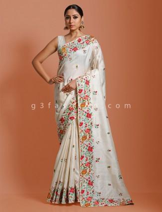 White saree in tussar silk