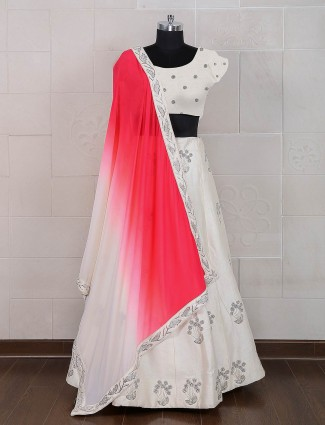 White silk wedding semi stitched lehenga choli