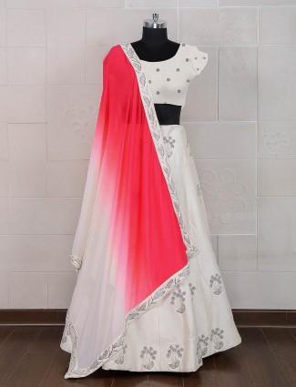 White silk wedding semi stitched lehenga choli