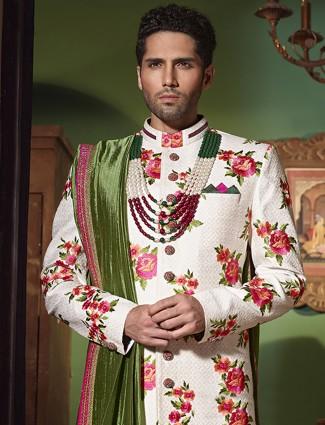 White silk wedding wear alluring indo western